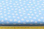 Ткань хлопковая с разносторонними сердечками 15 мм на голубом фоне № 534, фото 2