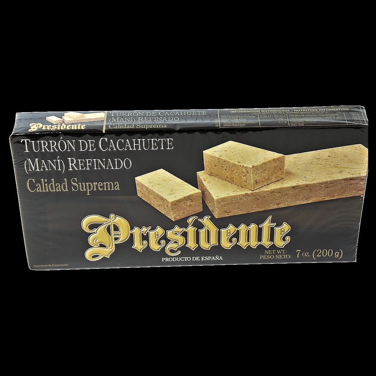 Шоколад Turron de cacahuete - President. 200гр. Испанский арахисовый туррон - Президент.