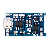 Контроллер заряда Li-Ion аккумуляторов TP4056 с защитой (MicroUSB)