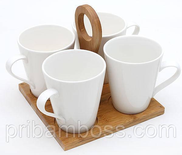Набір чашок 245мл (4шт) на бамбуковій підставці Naturel