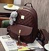 Рюкзак женский из кожзама набор стеганый 3 в 1 Коричневый, фото 2