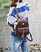 Рюкзак женский из кожзама набор стеганый 3 в 1 Коричневый, фото 9