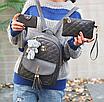 Рюкзак женский из кожзама набор стеганый 3 в 1 Серый, фото 2