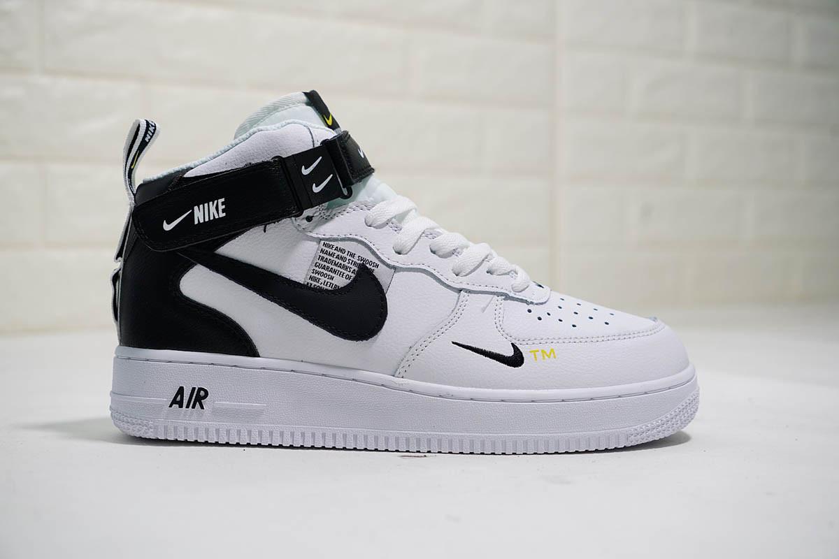 """Кроссовки Nike Air Force 1 Mid '07 LV8 Utility Pack """"White/Black"""" (Белые/Черные)"""