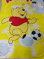 Детский плед из микрофибры, Мишка-футболист, размер 140*100 см
