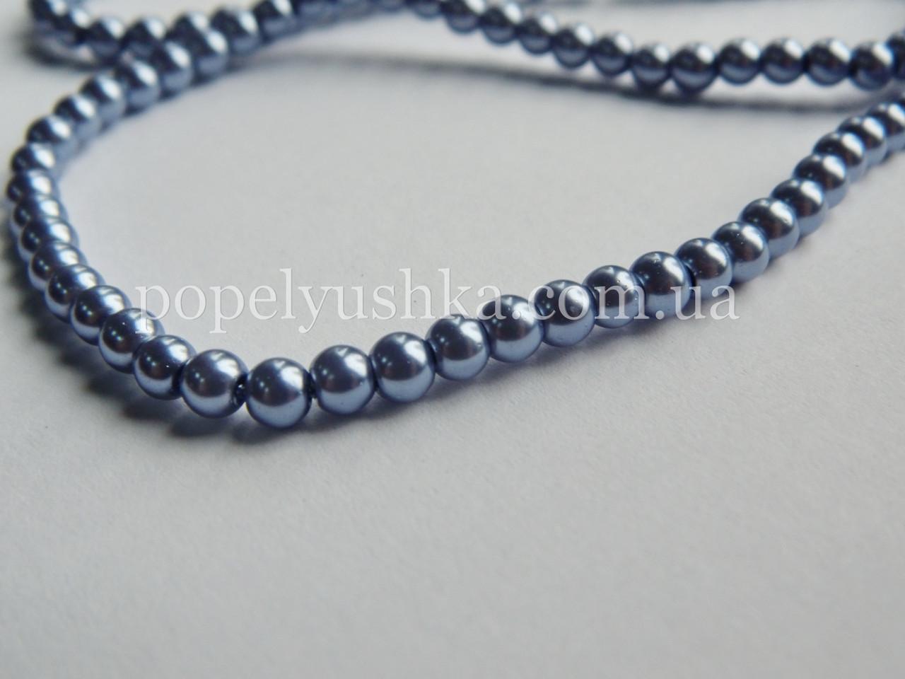 Перлини скляні  6 мм Срібно-Сірі (50 шт.)