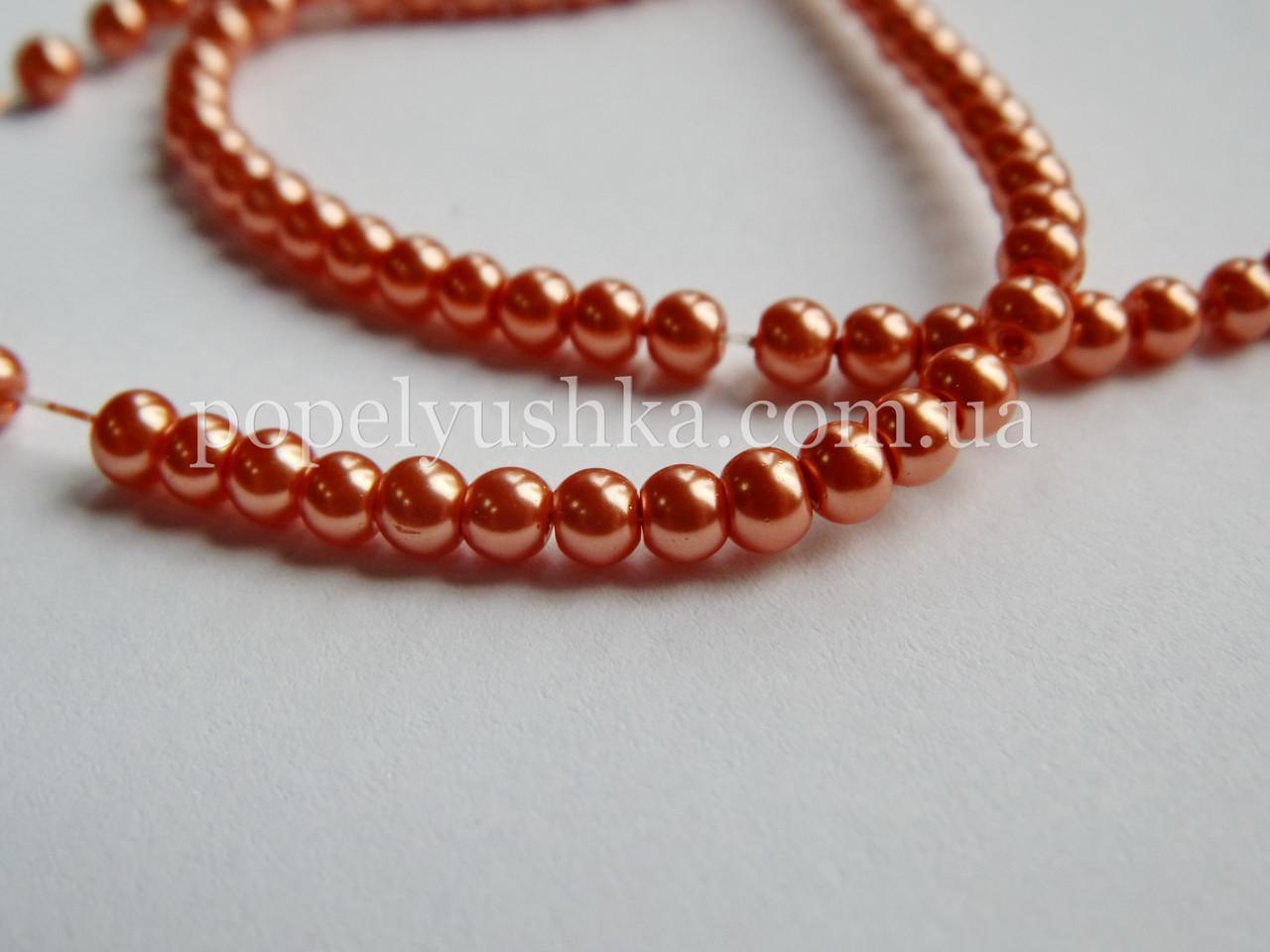 Перлини скляні  4 мм Шоколадні (50 шт.)