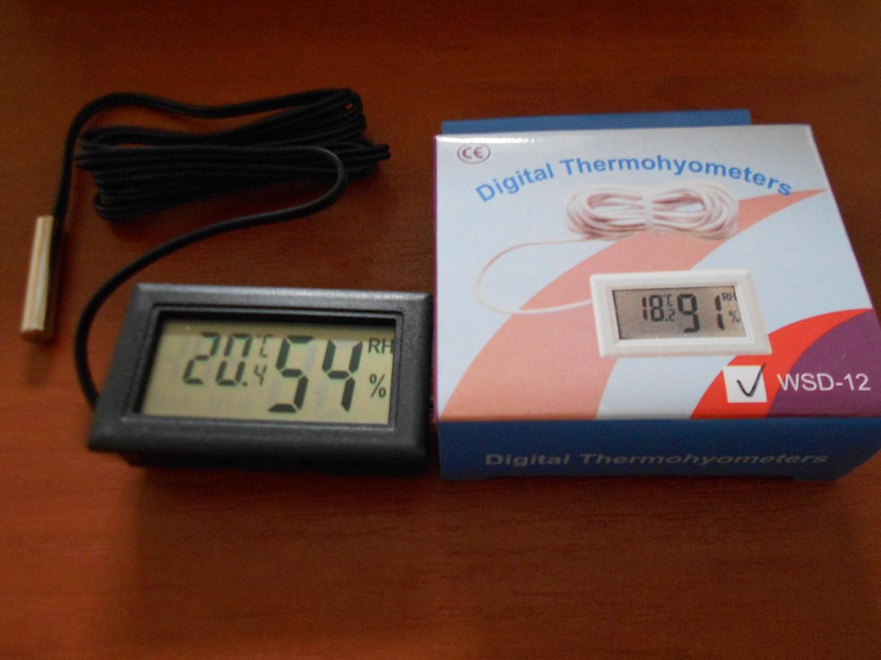 Цифровой термометр/гигрометр с выносным датчиком для инкубаторов