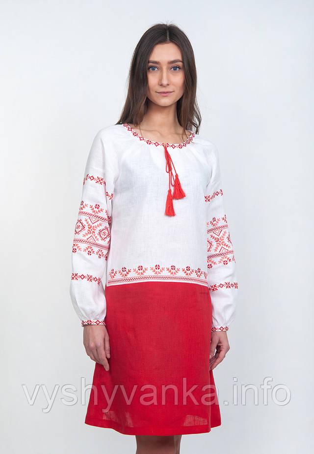 современное вышитое платье из льна
