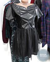 Супер-стильное платье черное с открытыми плечами и сеткой внизу