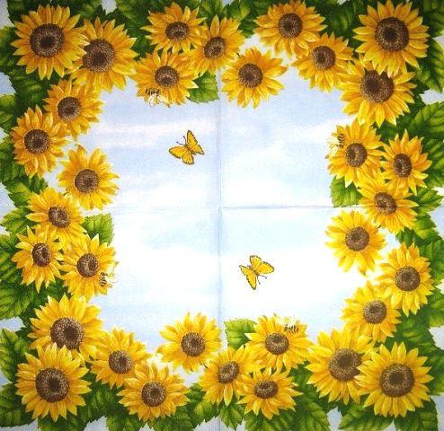Серветка для декупажу Рамка з соняшників 4118