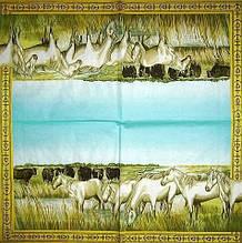 Декупажний серветка Табун білих коней 4117