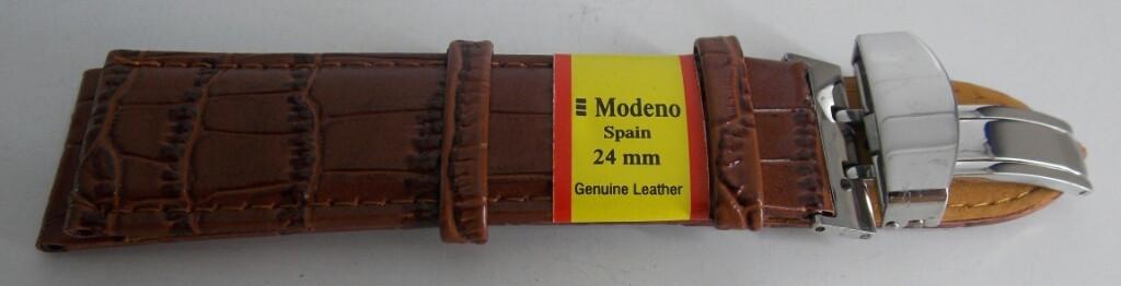 Ремешок кожаный MODENO Клипса (ИСПАНИЯ) 24 мм, коричневый, серебро