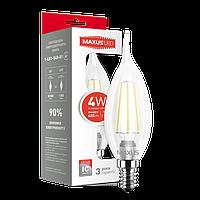 Светодиодная LED лампа MAXUS (filam) C37 TL 4W теплый свет E14 (1-LED-539-01)