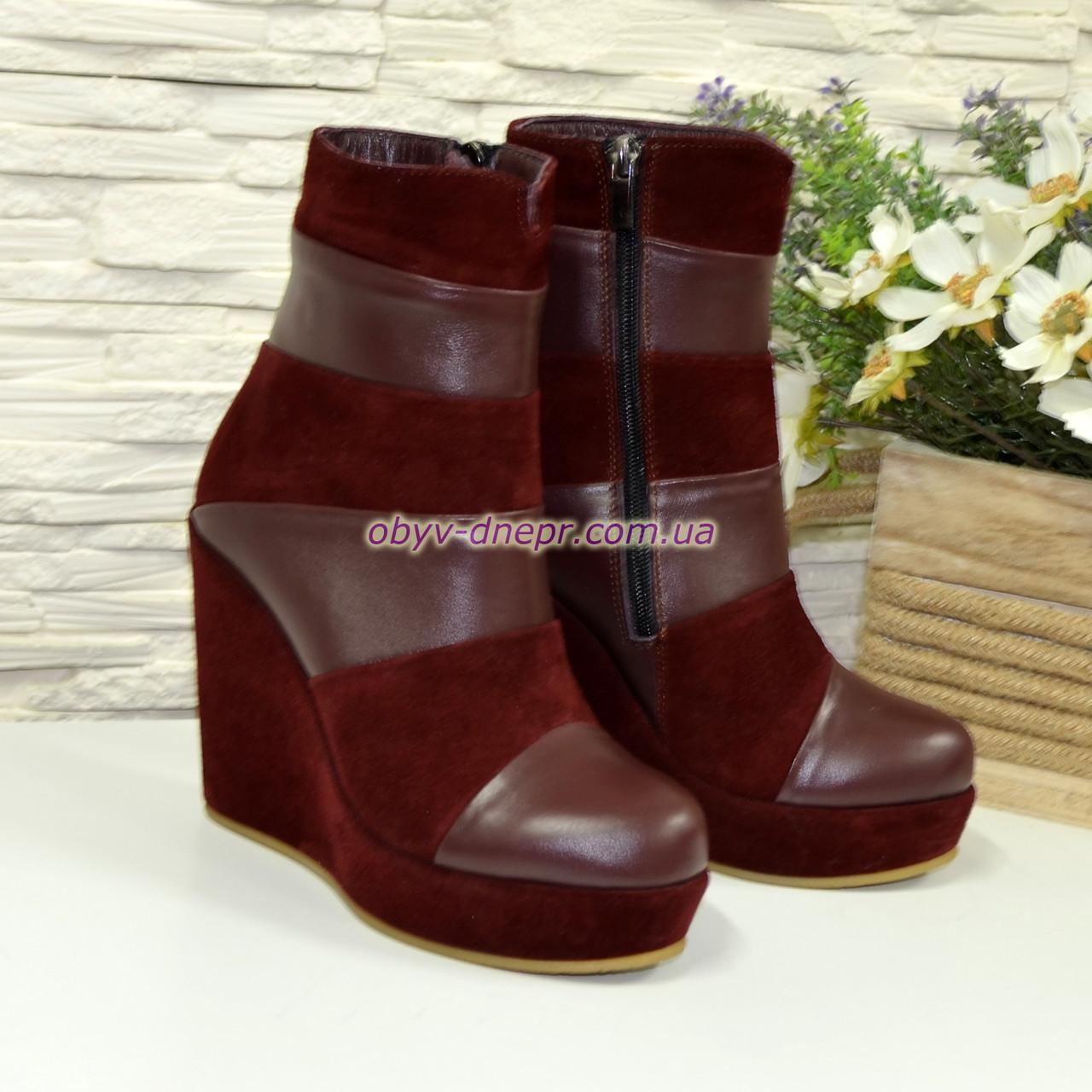 38ba35290 Ботинки демисезонные комбинированные на высокой платформе, цвет бордо