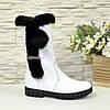 Полусапоги подростковые кожаные для девочек, на утолщённой подошве, цвет белый, фото 2
