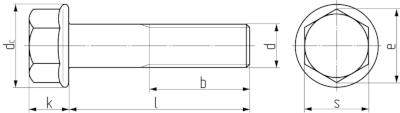 Описание: Болт с шестигранной головой и фланцем DIN 6921 (EN 1665, 14219). Чертёж