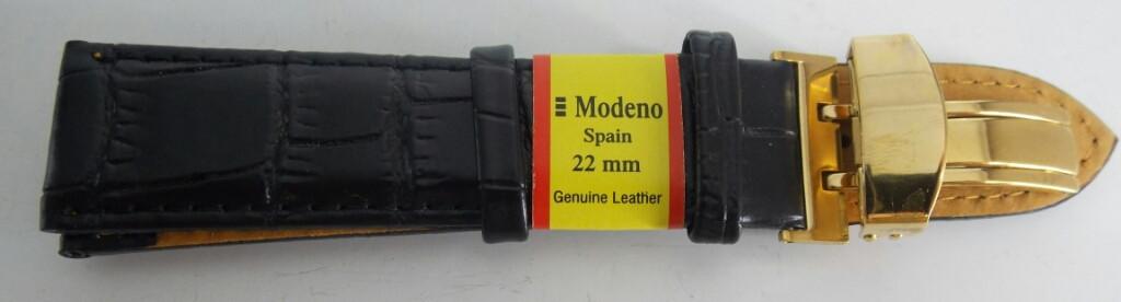 Ремешок кожаный MODENO Клипса (ИСПАНИЯ) 22 мм, черный, серебро