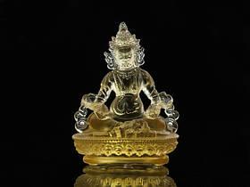 Статуя Хрустальная Лио Ли. Вайшравана (Дзамбала). Золотая (9х7х5 см)