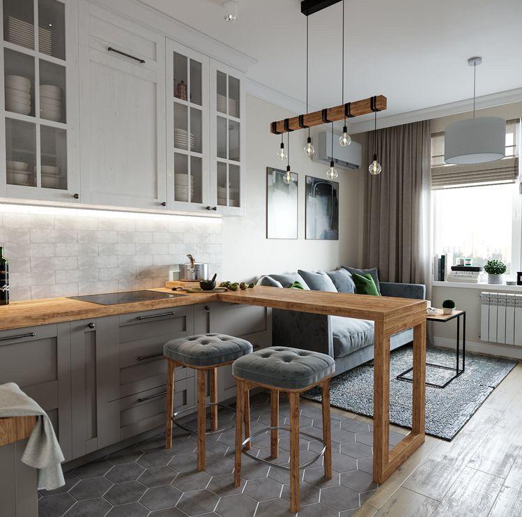 Кухня на заказ белая серая матовая фасады с фрезеровкой в скандинавском стиле