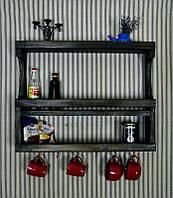 Дерев*яна настінна полка для посуду, спецій та круп. Навісна поличка для кухні.