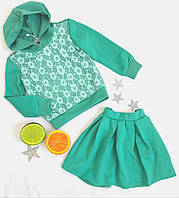 Комплект на девочку (юбка+кофта), размер 98-110, бирюза