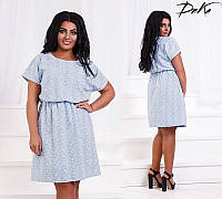 Летнее легкое платье женское короткое поплин 46-56 размеров Турция