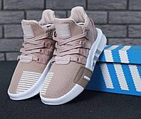 Кроссовки женские Adidas Equipment весенние стильные текстиль+пена (бежевые), ТОП-реплика
