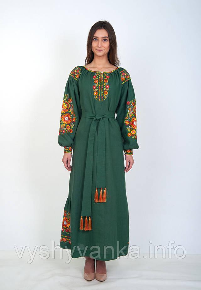 зеленое льняное платье вышиванка