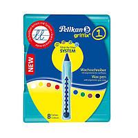 Карандаши восковые Pelikan Griffix 8 цветов для обучения письму и рисованию, фото 1