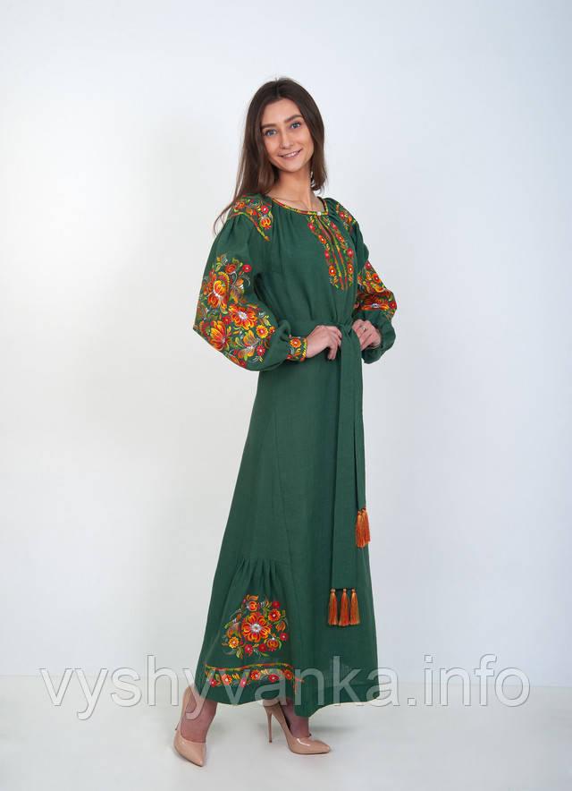 льняное платье длинное с цветочной вышивкой