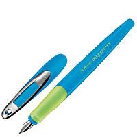 Ручка перьевая для левши Herlitz My.pen Blue-Neon голубой корпус, фото 1