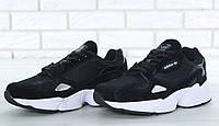 Кроссовки женские Adidas Falcon  кожаные качественные повседневные (черные), ТОП-реплика, фото 1