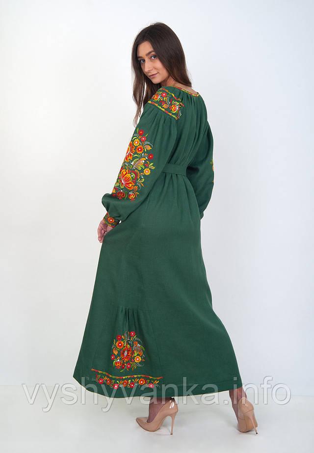 льняное платье с вышивкой макси