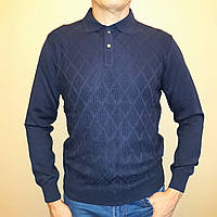 Мужской свитер синего цвета с воротом поло