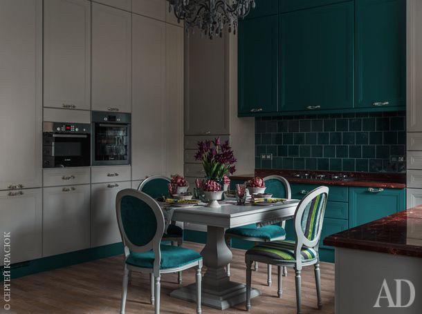 Кухня серая кухня зеленая в стиле современная классика