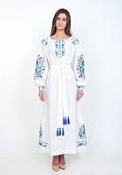 Довга біла лляна сукня вишиванка, арт. 4504, фото 1