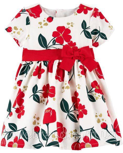 """Нарядное платье для девочки Carter's (США) белое с красным """"Цветы""""  6 мес/61-67 см"""