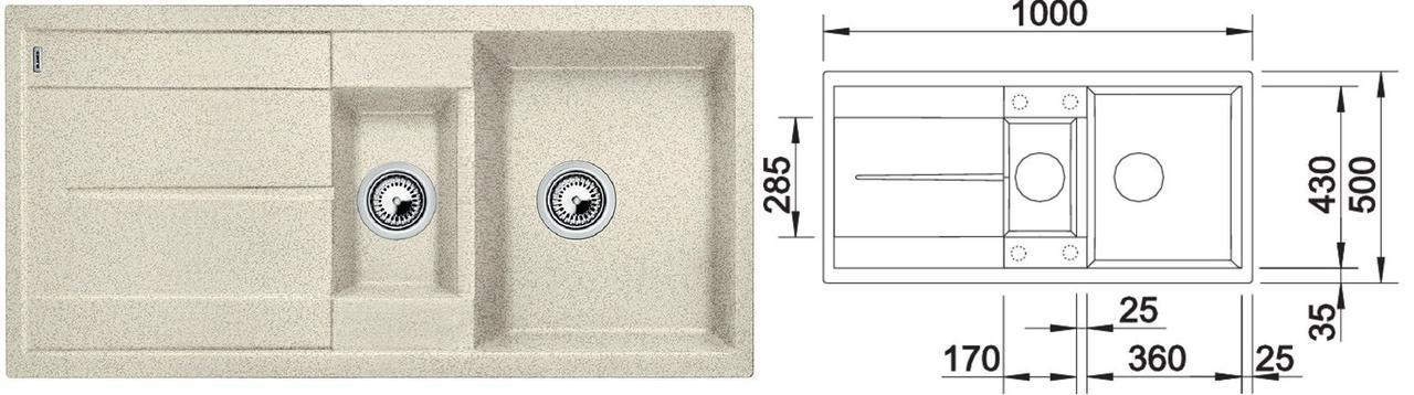 Гранитная мойка кухонная  Blanco Metra 6S (песочный)