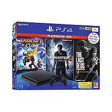 Sony PlayStation 4 Slim 1Tb Black +3 игры + Ratchet & Clank + The Last of Us + Uncharted 4