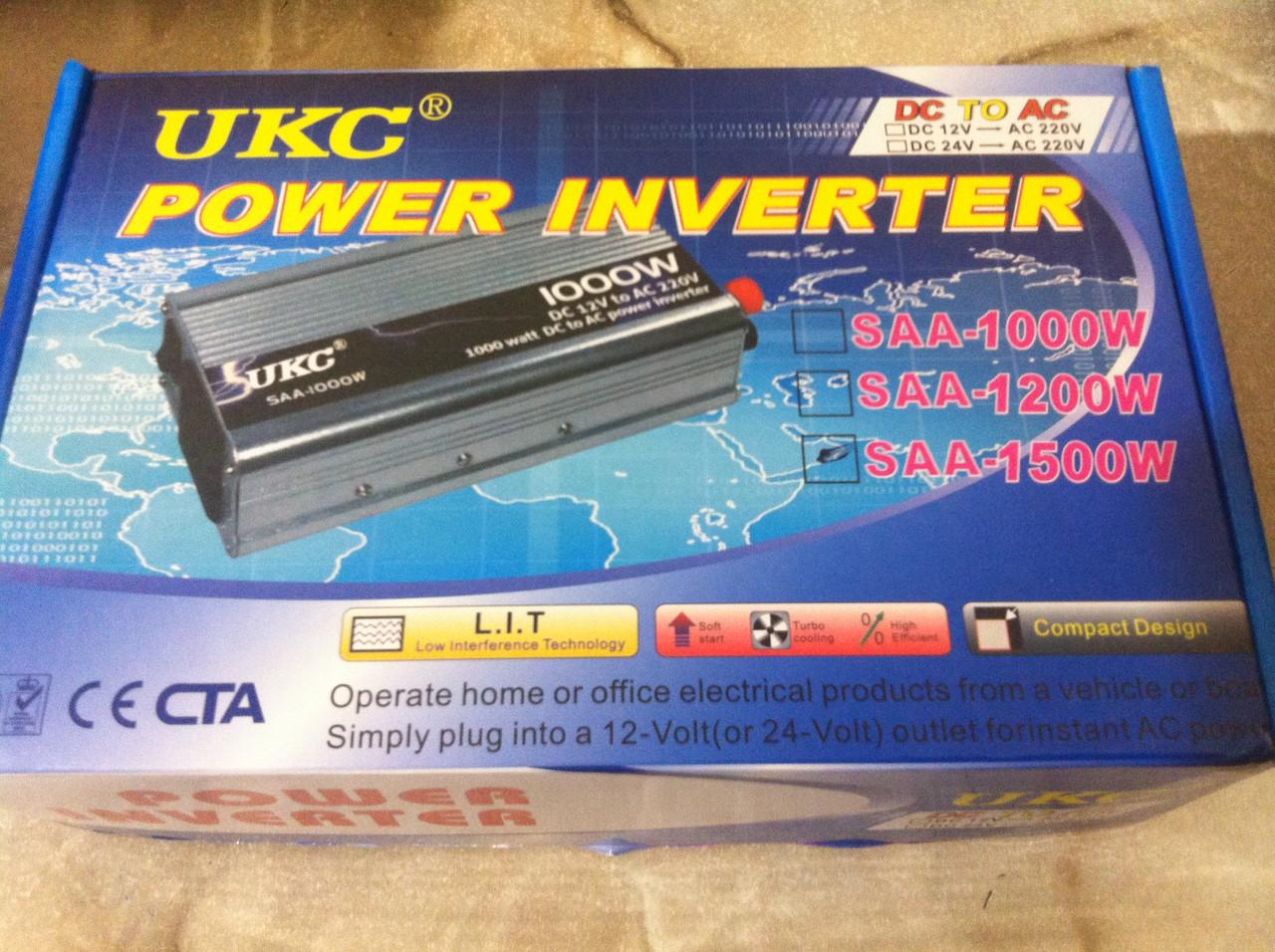 Преобразователь напряжения UKC Technology 1500W 12v/220v, автомобильный инвертор 1500Вт