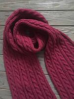Длинный вязаный шерстяной шарф, зимний шарф, вязаный шарф узор косы, шарф темно-розовый, женский вязаный шарф