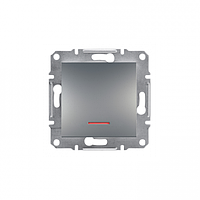 Выключатель одноклавишный с подсветкой Schneider Asfora сталь EPH1400162