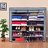 Тканинний взуттєвий шафа на 12 полиць «T2712» Сірий