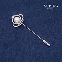 Брошь булавка Xuping Корона 23х74мм родий