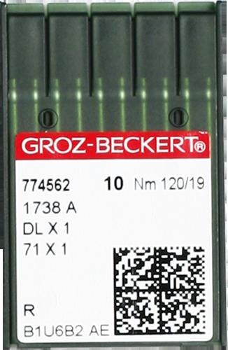 Groz-Beckert DLx1, универсальные иглы для спецмашин, размер 120, упаковка 10 шт