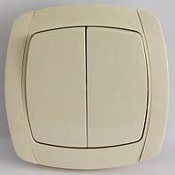 LXL BETA CREAM Выключатель двойной (белый/крем)