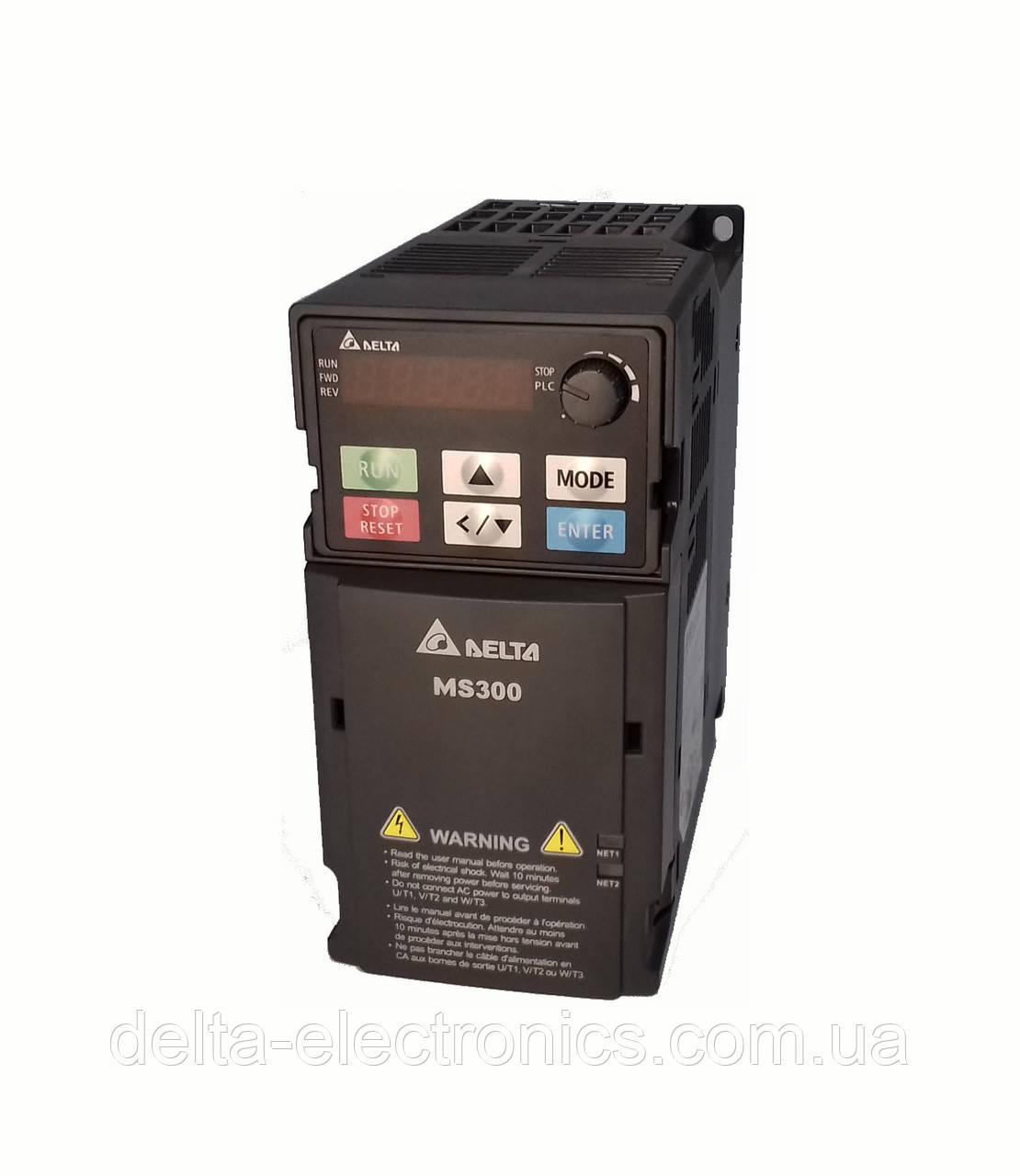 Преобразователь частоты MS300, 3x380В, 0,75 кВт, 2,7 /3,0А, ЭМС С2 фильтр, векторный, c ПЛК, VFD2A7MS43AFSAA