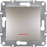Выключатель одноклавишный с подсветкой Asfora бронза EPH1400169