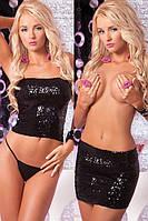 Комплект Pink Lipstick - Sequin tube top or skirt black S/M (PL7221004BLKSM)